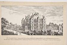 Lithographie XIX° Château de Madrid près Paris Renaissance François I°