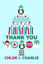 Christmas Gift Thank You Cards - 5 x Personalised Prints with Envelopes