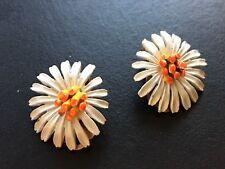 Antique Enamel Daisy Clip Earrings By Art, White flower, Signed