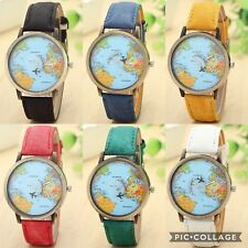 New World Map Dial Moving Airplane Analog Quartz Watch Unisex Men Women Vintage