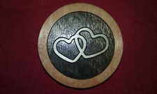Valentine's day refrigerator magnet with 2 interlocking hearts wood med border