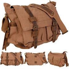 Men's Vintage Canvas Leather School Military Shoulder Messenger Bag Tan