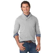 CHAPS LG TALL BECKET CLASSIC FIT FRENCH TERRY SHAWL COLLAR SWEATER SILVER GRAY