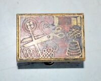 Old Vintage Collectible Brass Carved Enamel Sewing Box Needle Thread Case