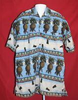 Joe Marlin Mens XL Short Sleeve Button Up Hawaiian Shirt Pineapple Tropical Tiki