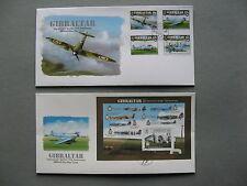 GIBRALTAR, 2x cover FDC 2011,  set + S/S Spitfire 75th ann. RAF aircraft