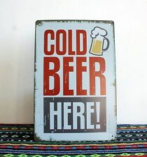 Retro COLD BEER HERE! Advert Metal Tin Sign Decor Bar Pub Tavern Brewery