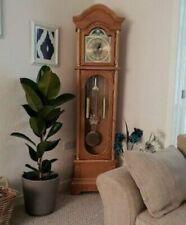 Oak Grandfather Clock Vintage Retro Longcase Solid Wood Case Atnqiue Furniture