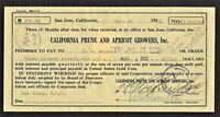 California Prune and Apricot Growers Contract - 1921 - Revenue on document