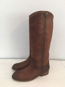 FRYE Melissa Button 2 Tall Boots Cognac Distressed Leather Sz 7.5 NEW FREE SHIP