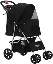 Pet Stroller Cat Dog 4 Wheel Jog Folding Lightweight Travel Carrier Cart Black