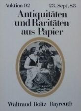 ANTIQUITÄTEN PAPIER von BOLTZ BAYREUTH 1983 auf 52 Seiten über 450 Positionen
