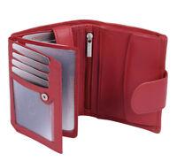 Damenbörse mit Riegel Geldbörse mit Außenverschluss LEAS Echt-Leder, rot