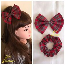Royal Stewart Red Tartan Hair Bow Scrunchies Headband Headscarf dress Scottish