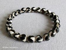 Black & Cream Wavy Agate Beaded Stretch Stacking Unisex Fashion Bracelet
