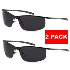 2 Pack X-Loop Polarized Mens Metal Frame Semi Rimless Sport Designer Sunglasses