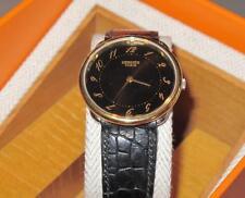 Hermes Black Crocodile WRIST WATCH ARCEAU GM Quartz Gold UNISEX