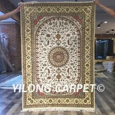 Yilong 4'x6' Handmade Carpet Medallion Hand Knotted White Silk Area Rug Y410C