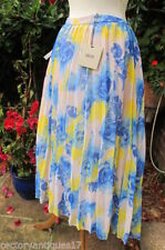 Knee Length Silk Pleated, Kilt Floral Skirts for Women