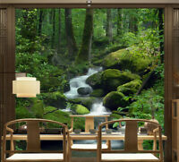 3D Mountain Stream in Forest TV Background Self adhesive Bedroom Wallpaper Mural