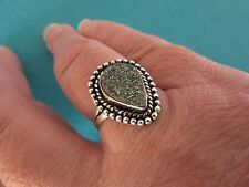 Silver Overlay Ring With Natural Titanium Druzy UK Q, US 8.25 (rg2767)