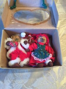 BELLE COEUR BEARS 1997 ROSS Limited Edit set of Bears for Christmas Decorations