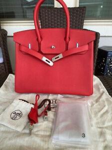 "100% Authentic HERMES Birkin 30cm Red Epsom Tote Handbag SHW ""C"" Stamp"