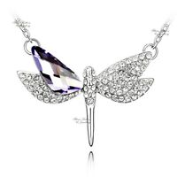 18K White Gold Filled Made With Swarovski Crystal Dragonfly Purple Necklace