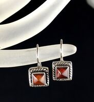 Lori Bonn Sterling Silver 925 Amber Earrings Signed Square Jewelry Woman Gift