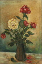 1970 IMPRESSIONIST STILL LIFE ROSES OIL PAINTING SIGNED