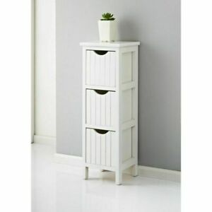 White/Grey 3 Drawer Chest Cabinet Fully Assembled Storage Unit Bathroom Bedroom
