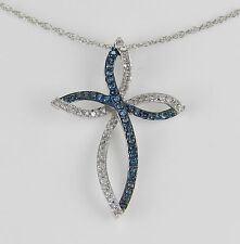 "Fancy Blue Diamond Cross Pendant Necklace White Gold 18"" Chain Religious Charm"