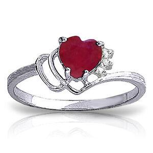 Genuine Red Ruby Heart Gemstone & Diamonds Ring 14K. Yellow, White or Rose Gold