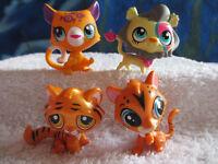 LOT PETSHOP ANIMAUX SAUVAGES : LION 3350 - TIGRE 1487 - JAGUAR 320 - PUMA F26