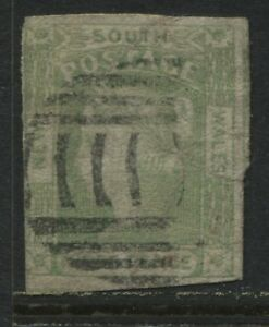 New South Wales 1852 3d green used (JD)