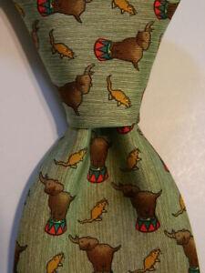 HERMES 7681 TA Men's Silk Necktie FRANCE Luxury ELEPHANTS MICE Green/Brown EUC