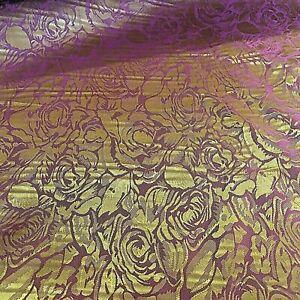 Rose Patterned Shot Burgundy & Gold Jacket & Dress Lining Fabric Material