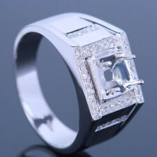 6mm Round Sterling Silver 925 Diamond Band Engaged Anniverary Mens Ring Setting