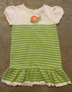 Gymboree Growing Flowers Sweater Dress Size 4T Green Stripe Snail Appliqué - EUC