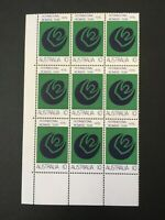 1975 International Women's Year Australian stamps Block of 9 MNH