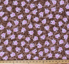 Cotton Green Farms Cute Pigs Animals Mud Cotton Fabric Print by the Yard D487.01