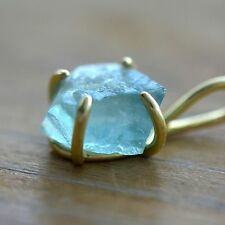 Rough Cut Fluorite Pendant in 24K Gold Plated Claw Setting - Gemstone Jewelry