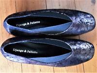 Django & Juliette Low Wedges, Bronze Metallic, Elasticated Upper, s41, BNWOB