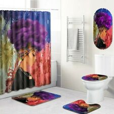African Queen Purple MultiAfro Bathroom Shower Curtain Toilet Seat Cover Rug Set