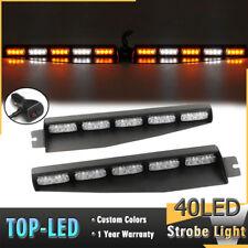 """34"""" 40 LED Emergency Warning Visor Mount Dash Flash Strobe Light Bar Amber White"""