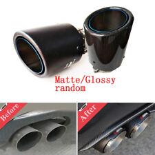Universal 63mm-101mm Blue Burnt Steel Carbon Fiber Car Exhaust Muffler Tip Pipe