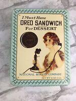 "Vintage Nabisco Brand Oreo Sandwich Cookie Tin Replica 1918 Advertisement 8x6"""