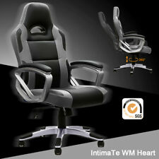 Executive Racing Gaming Office Chair Swivel Sport PU Leather Computer Desk Grey