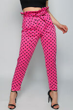 Ladies Hot Pink Polka Dot Cigarette Trousers / High Waisted / Paperbag BNWT