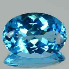 20.67 cts Huge Natural Oval-cut Beautiful-luster IF Swiss Blue Topaz (Brazil)